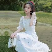 小清新甜美初戀碎花方領可甜可鹽白色連身裙溫柔法式長裙子仙女夏