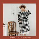 洋裝   造型大口袋格紋棉麻洋裝.罩衫   單色-小C館日系