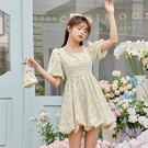 洋裝方領碎花連身裙S-XL碎花裙女裝氣質連身裙小個子裙子茶歇裙5837 1F-A126-D 韓依紡