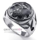 《 QBOX 》FASHION 飾品【R10022557】精緻龐克風太空面罩骷髏頭鑄造鈦鋼戒指/戒環