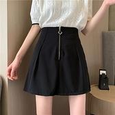 西裝短褲 拉錬高腰短褲女夏季褲子顯瘦寬管a字直筒寬鬆黑色西裝褲-Ballet朵朵