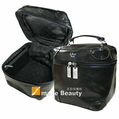 Dior迪奧 Beauty黑色軟皮圓形大化妝提包(內附小零錢包)《jmake Beauty 就愛水》