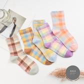 韓國襪子 馬卡龍拼色格紋中筒襪【K0728】