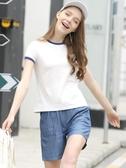 短袖艾米戀純棉短袖白色t恤女夏2020年ins潮修身短款上衣打底衫丅春季特賣