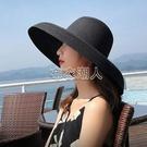 大檐帽大漁夫草帽法式赫本風帽子女遮陽帽防曬超大帽檐沙灘帽夏天 YJT 快速出貨