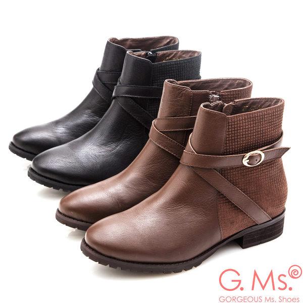 G.Ms. 牛皮拼接格紋交叉皮帶釦短靴*咖啡
