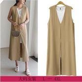歐美L-4XL中大尺碼無袖洋裝背心裙25360/歐美新款大碼女裝無袖坎肩外套搭配小背心中長連衣裙二件