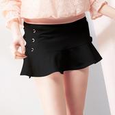 【SHOWCASE】側綁帶造型包臀俏麗A字短裙(黑)