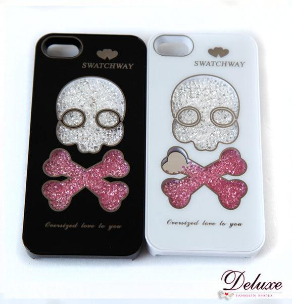 ☆Deluxe☆愛瘋時尚~iPhone4/4s專用可愛Q版骷顱頭造型水晶手機殼★二色