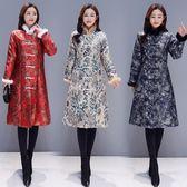 冬季中式民族風高端大氣真兔毛提花中年時尚媽媽女裝外套洋裝 618降價