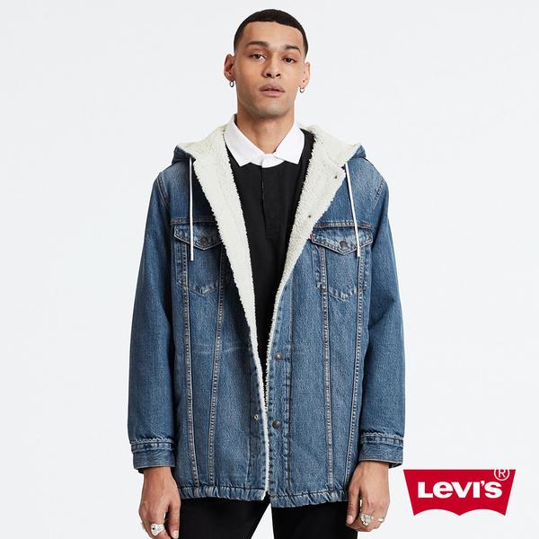 Levis 男款 長版連帽牛仔外套 / Sherpa棉花絨