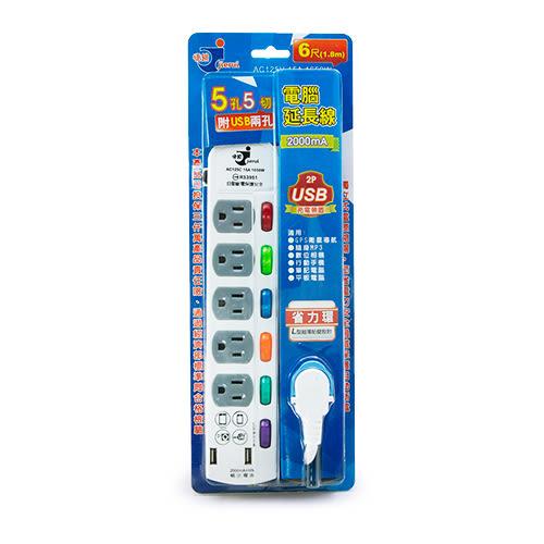 LIKA夢 捷銳 jierui 6開5插3孔15尺 4.5M 雙USB 2.0A充電座 電腦延長線 台灣製造 A5USB366-15