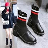 襪靴 短靴女2019新款秋季馬丁靴英倫風彈力襪子靴高幫單鞋粗跟瘦瘦靴女
