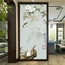 新中式手繪工筆花鳥3d玄關走廊過道豎版背景墻壁紙無縫墻布5d壁畫