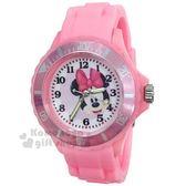〔小禮堂〕迪士尼 米妮 矽膠運動手錶《粉.大臉》腕錶.運動錶 8014053-01901