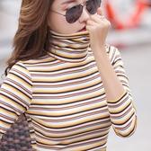 時尚內搭加厚條紋長袖高領打底衫女秋冬2020新款韓版百搭t恤上衣