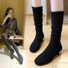 小個子長靴過膝靴襪靴2019冬季新款百搭長款彈力瘦瘦靴冬季靴子女 黛尼時尚精品