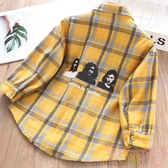 兒童洋氣長袖純棉襯衣外套上衣女童格子襯衫【聚可愛】