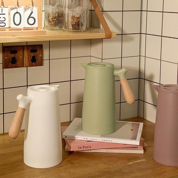 ins日式歐式家用保溫熱水壺簡約木質手柄大容量玻璃內膽1L 璐璐