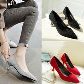 貓跟單鞋女5CM中跟百搭職業工作鞋黑色女鞋尖頭細跟絨面高跟鞋女
