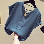 v領雪紡衫女短袖2021新款韓版寬鬆黃色襯衫洋氣小心機露背上衣夏 茱莉亞