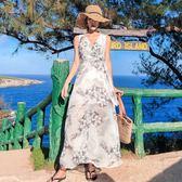 (工廠直銷不退換)8592#   波西米亞裙夏新款收腰系帶顯瘦海邊度假雪紡沙灘連衣N-4E434韓依戀