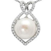 項鍊 925純銀 珍珠吊墜-氣質鑲鑽生日情人節禮物女飾品73dh9【時尚巴黎】