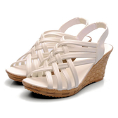 魚嘴涼鞋 2020夏季新款韓版媽媽休閒坡跟高跟羅馬平底沙灘鞋