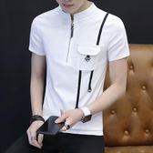 POLO衫男士短袖t恤襯衫韓版潮流立領polo夏季修身半袖體桖新款衣服 可然精品