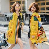 韓版休閒外套開衫風衣泰國潮牌卡通燈籠袖寬鬆大碼連帽風衣中長款外套N818-237