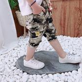 男童中小童純棉迷彩運動中褲薄款童裝夏季新款兒童短褲沙灘褲