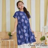 【Tiara Tiara】百貨同步 大水玉寬版傘下擺短袖洋裝(藍) 預購