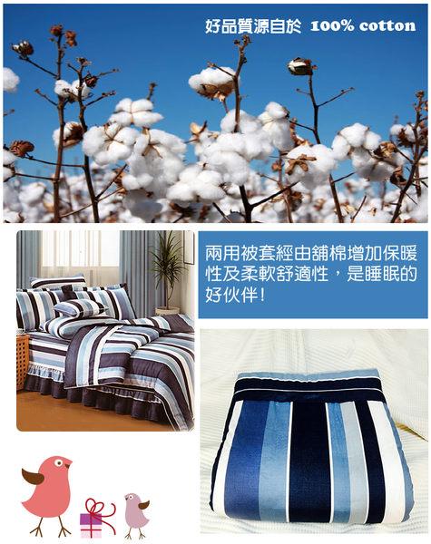 精梳棉雙人床包+雙人鋪棉兩用被套組-藍居