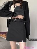 A字裙黑色開叉半身裙女2021年春季新款韓版高腰顯瘦短裙氣質包臀A字裙 JUST M