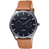 LICORNE 文青時尚日曆手錶-黑x咖啡錶帶/40mm LT128MBBD1