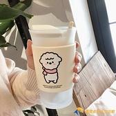 可愛綿羊磨砂玻璃杯咖啡牛奶早餐水杯帶勺【勇敢者】