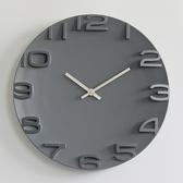 簡約現代3D立體數字掛鐘靜音圓形石英鐘掛表臥室客廳時鐘時尚創意 檸檬衣舍