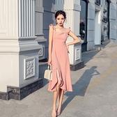 洋裝 吊帶洋裝女夏天2020新款法式荷葉邊氣質性感魚尾揹帶裙子輕熟風