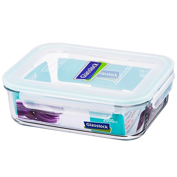 大廚師百貨-Glass Lock強化玻璃保鮮盒2000ml長方型密封盒RP532便當盒副食品保存盒