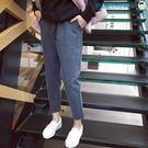 韓版寬鬆系帶哈倫九分休閒褲【洛麗的雜貨鋪】
