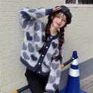 VK精品服飾 韓國風寬鬆愛心釘珠馬海毛毛衣設計感針織衫單品外套
