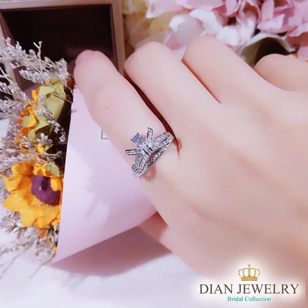 【DIAN 黛恩珠寶】女孩與蝴蝶結 925純銀CZ鑽石戒指(MJSM12009)