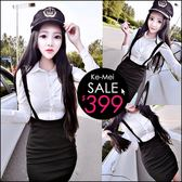 克妹Ke-Mei【ZT47921】OL氣質名媛立領開釦襯杉+吊帶裙二件式套裝洋裝