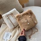 秋冬毛毛小包包女新款潮韓版百搭斜挎包鏈條包洋氣時尚水桶包伊莎公主