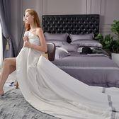 義大利La Belle《法蘭克》加大天絲蕾絲四件式防蹣抗菌吸濕排汗兩用被床包組-白