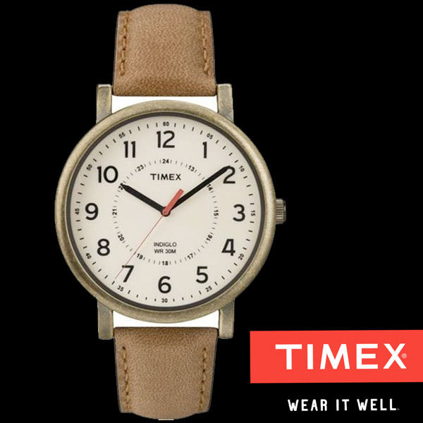 TIMEX 復古金框大錶面大三針簡單數字皮帶錶x42mm 夜光冷光面板 TXT2P220 公司貨 | 名人鐘錶