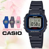 CASIO卡西歐 手錶專賣店   LA-20WH-1C 中性女錶 電子錶 橡膠錶帶 黑x藍 防水