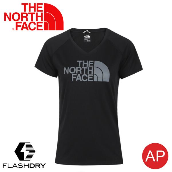【The North Face 女 LOGO 快乾V領短袖T恤《黑》】3V7H/FlashDry/排汗快乾/運動衣/休閒/跑步