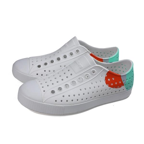 native 休閒鞋 洞洞鞋 白/湖水綠 男女鞋 11100102-1973 no032