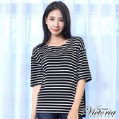 Victoria 條紋蕾絲拼接寬鬆五分袖T-女